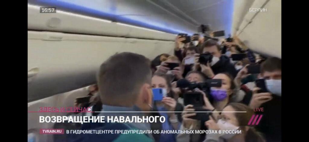 Navaljni na letu Pobeda prema Moskvi